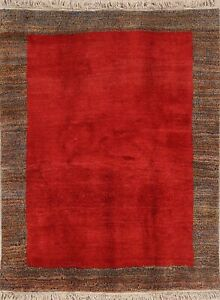 One-of-a-Kind-Contemporary-Gabbeh-Hand-Knotted-5x7-RED-Oriental-Area-Rug-Wool