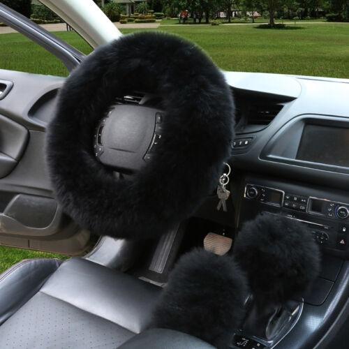 38cm Soft Fluffy Winter Car Steering Wheel Cover Set with Long Plush Fur Black
