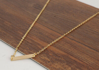 Free P&P Gold Horizontal Stick Noble Simple Bar Bone Pendant Necklace Woman