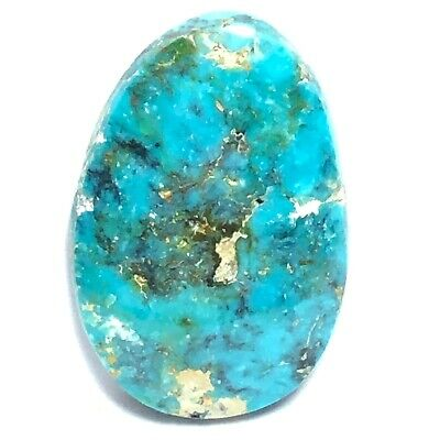 Flat Back Straight Sides Natural Turquoise Cabochon 27 mm X 20 mm X 4 mm Tibetan Blue Medium Size Oval Focal
