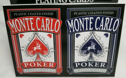 Monte Carlo Plastic Coated Finish Poker Playing Cards ~ Twin Pack ~ Red /& Blue
