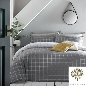 Appletree-HARVARD-CHECK-Grey-amp-White-Checked-100-Cotton-Duvet-Cover-Set