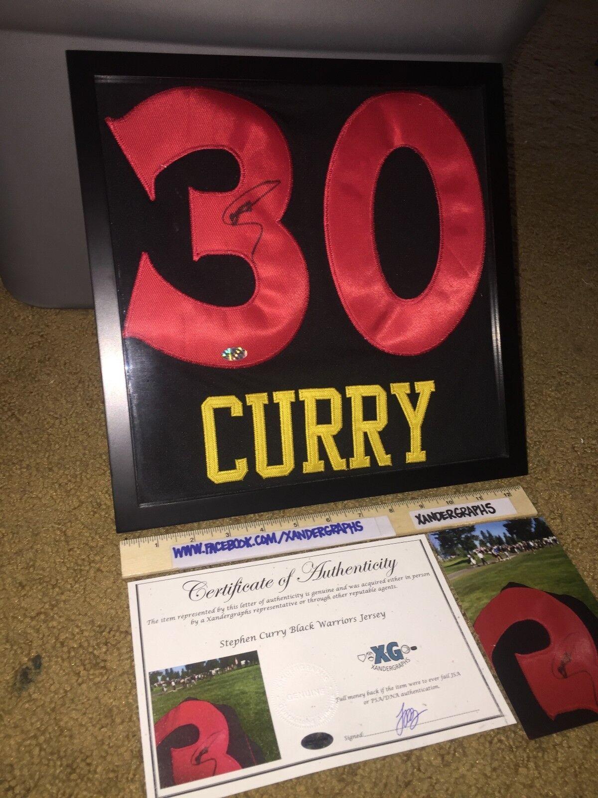 Stephen Curry  30 Warriors con Cornice Autografato Pallacanestro Jersey-Coa Holo
