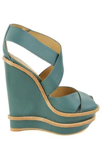 L.A.M.B Angela Teal Sandal Heel LAMB Pump Platform Leather Wedge NEW Green