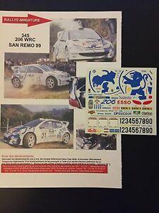 DECALS-1-43-PEUGEOT-206-WRC-GRONHOLM-RALLYE-SAN-REMO-ITALIE-1999-RALLY-ITALIA