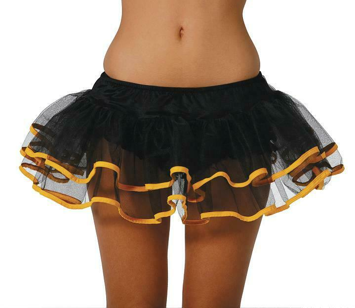 Black Double Layer Petticoat O/S fits 6 8 10 12 14 W/ Yellow Trim Underskirt