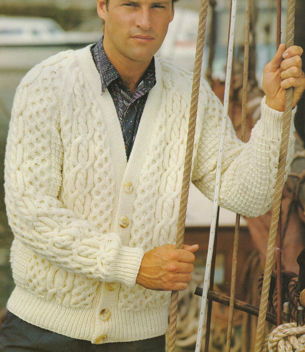 V Neck Cable Aran Cardigan Man or Woman ~ 34\