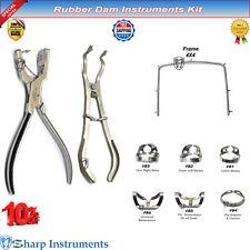Rubber Dam Kit Ivory Forceps Brinker Clamps Ainsworth Punch Frame Dental Tools