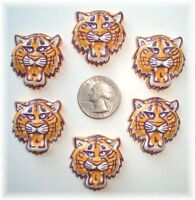 6pc Tiger Bobcat Yellow Gold Purple Flatback Resins 4 Football Cheer Bow Hairbow