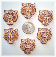 6pc Tiger Bobcat Yellow Gold Purple Flatback Resins 4 Football Cheer Bow Hairbow