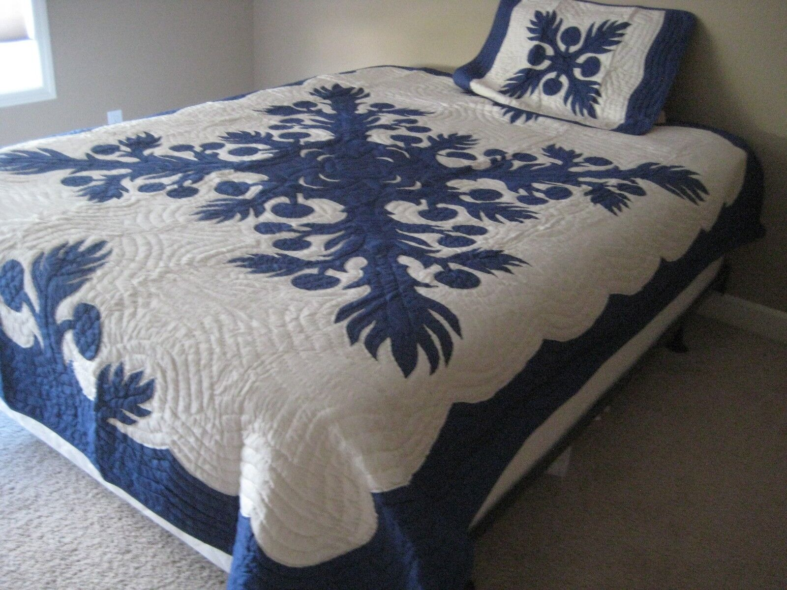 95x74  Hawaiian Quilt Comforter w  1 shams hand quilted appliqued 100% cotton