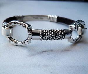 Image Is Loading Cly Equine Horse Sterling Silver Horseshoe Bangle Bracelet