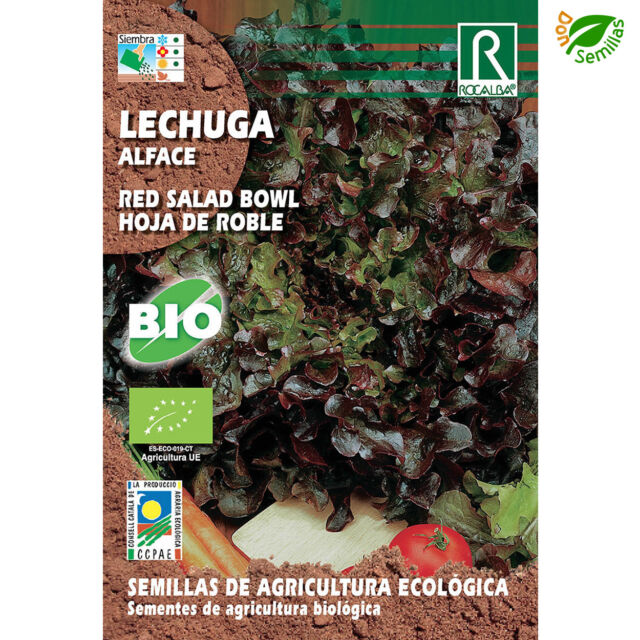 Lechuga Hoja de Roble Ecológica (4 g / 2.800 semillas) Red Salad Bowl Eco Seeds
