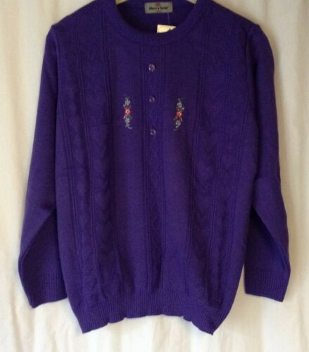 NEW ELDERLY LADIES LONG SLEEVE EMBROIDERED PULL ON KNITTED JUMPER *9 COLOURS