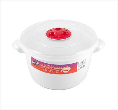 2 X 2l Microonde Riscaldare I Cibi Cottura Pentola Contenitore Con Coperchio Ventilato Nuovo-