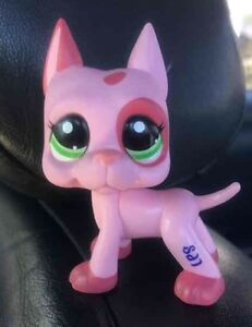 Littlest Pet Shop LPS*Strawberry/Pink~ Great Dane~Green Eyes*Rare*HTF*