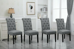 Details About Set 4 Gray Dining Chairs High Back Fabric Upholstered Button Tufted Dining Room