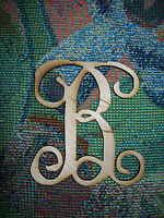 Unfinished Wood Letters Fancy Vine Monogram 17.5 Inch Tall No Border