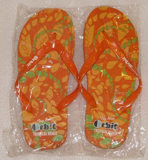 11a5d91d33cf NEW Men s Orange Flip Flops Sandals Orbit Tropical Remix Remix Remix Size  Medium US NIP ee0110