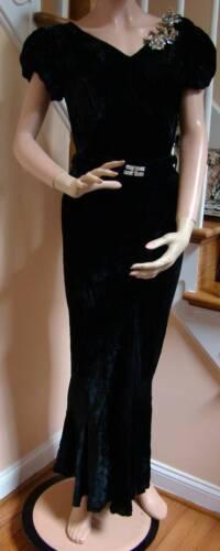 Vintage 1930's DECO Black Velvet Column Gown with