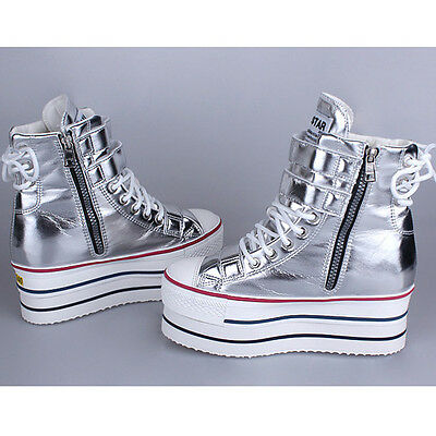 Womens Platform High Top Zip Fashion Sneakers Shoes Ankle Boots Silver US 5.5~9