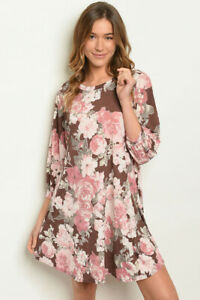 New-Ladies-Boho-Brown-Pink-Floral-Balloon-Sleeve-Pockets-Western-Dress-S-M-L