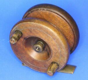Antique-wooden-amp-brass-fishing-reel-3-inch-diameter-20885