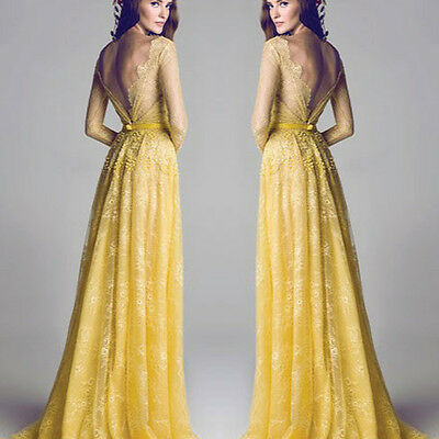2014 Vintage Lace Long Sleeve Prom Ball Cocktail Party Dress Formal Evening Gown