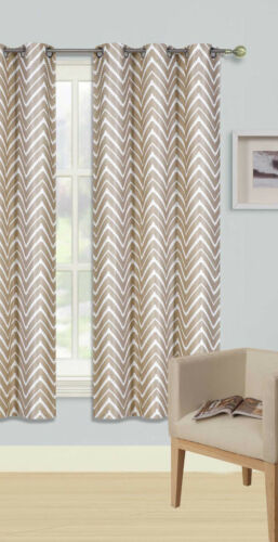 1PC GROMMET PANEL PRINTED LINED BLACKOUT WINDOW CURTAIN ZIGZAG IN TAUPE IVORY