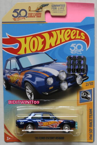 Hot Wheels 2018 50th Super Schatzsuche '70 Ford Escort RS1600 Fabrik Verpackt