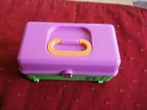 POLLY-POCKET-VINTAGE-1993-CABOODLES-PLAYSET-CASE-ONLY-PINK-AND-GREEN-CASE-HANDLE