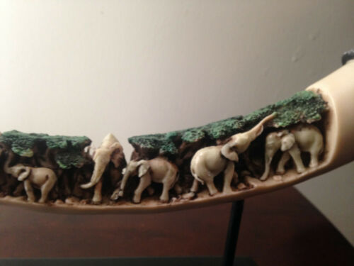 ivory color Carved Asian African Elephant Tusk safari jungle Statue Sculpture