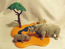 Playmobil Rhino and Baby w/ River Landscape for Zoo, Safari, Noah Ark Animals