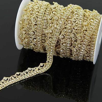 1 Yard silber gold Strass Bänder Kette Rheinkiesel Borte Kleidung Hochzeit Deco