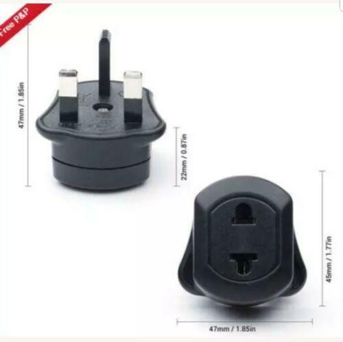 10X EU 2 Pin UK 3 Pin Fused Adaptor Plug Noir Pour Rasoir//brosse à dents