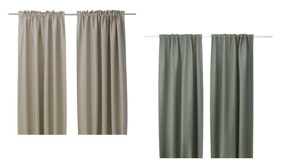 NEW VILBORG  Curtains,1 pair,Grün pair,Grün pair,Grün  Beige,L.Grün , 145x250 cm Brand Ikea a0cc6a