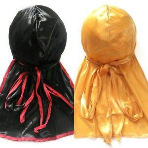 Gold Flower Rose Design Silk Durag Cap Doo rag Scarf Dew rag Wrap Up Hot