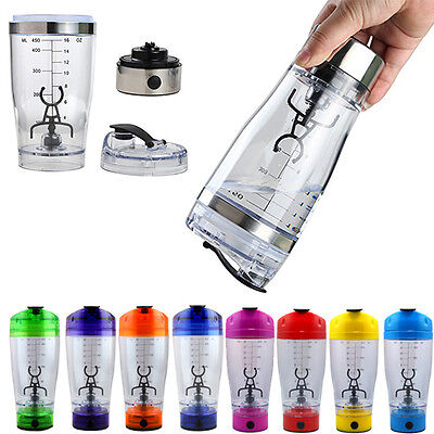 Portable Protein Shaker Tornado Cocktail Mixer HandHeld Battery Bottle Cup 450ML