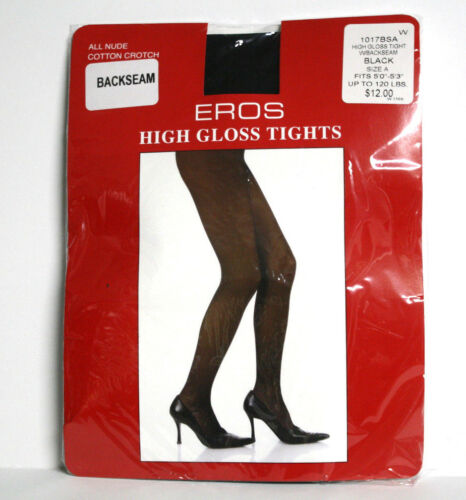 Eros Womens Black Size A Tights High Gloss Back Seam Pantyhose All Nude S//M