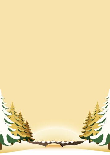 A4 Motivpapier Briefpapier gelb//beige Winterlandschaft Weihnachten Winter 50 Bl