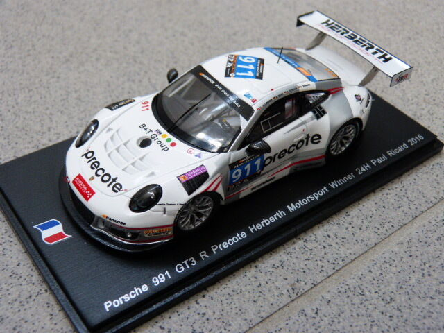 Porsche 911 991 gt3 R Winner 24h Paul Ricard 2016 Spark Model Car 1 43