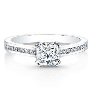 0.65 Ct Cushion Moissanite Engagement Brilliant Ring 18K Solid White Gold Size 4