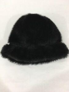 25f28e45ba7 Everitt Vintage Women s Black Faux Fur Bucket Hat Lined One Size