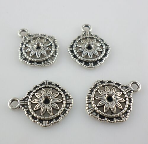 20//60pcs Tibetan Silver Lucky Flower Charms Pendants For Jewelry Making