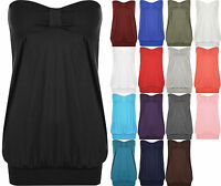 New Plus Size Womens Plain Strapless Ladies Long Bandeau Boob Tube Top 16-26