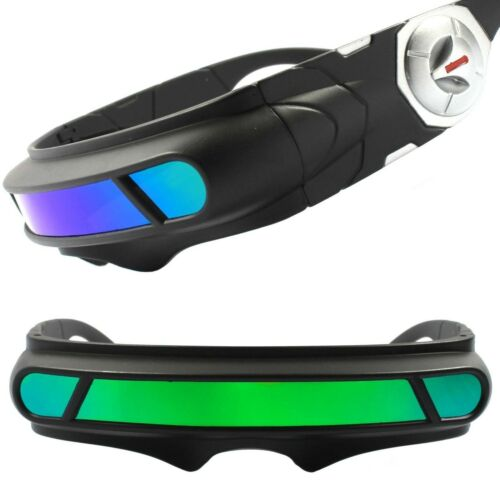 Green Blue Mirror Lens Futuristic Cosplay X-Men Cyclops Costume Visor Sunglasses