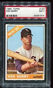 1966-Topps-Baseball-127-KEN-BERRY-Chicago-White-Sox-PSA-7-NM