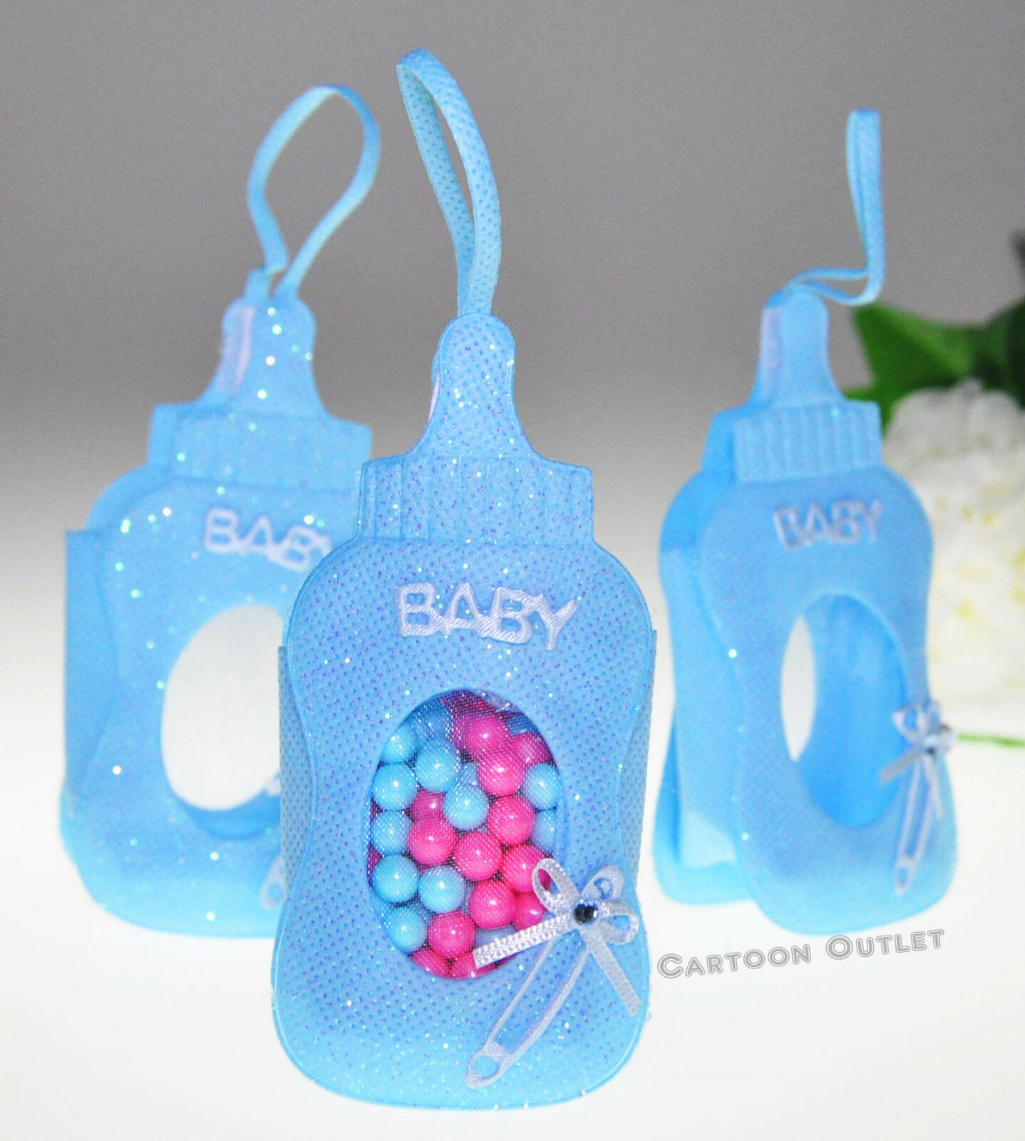 24 PC RECUERDOS BABY SHOWER FILLABLE BOTTLE POUCHES FAVORS bleu DECORATIONS BOY