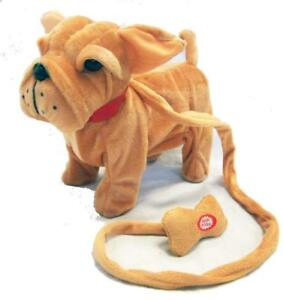 Large Brown Bulldog Remote Control Walking Dog With Sound Battery