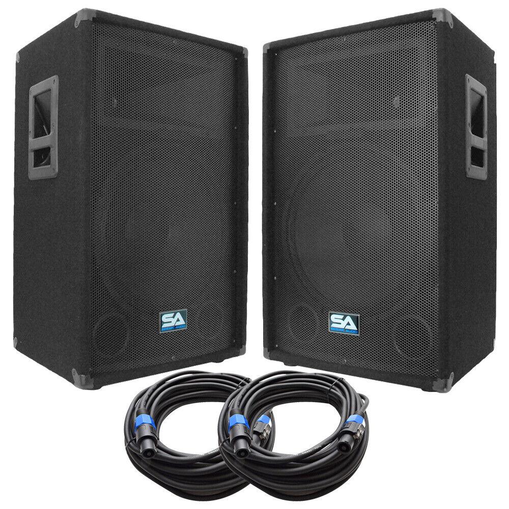 Pair of 15  PA DJ Loudspeakers and 50' Speaker Cables - 15  Club,Party Speakers